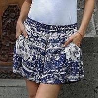 Rayon shorts, 'Caribbean Paradise' - Handmade Blue and White Rayon Shorts from Indonesia