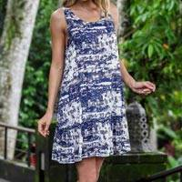 Rayon sundress, 'Caribbean Paradise' - Handmade Blue and White Rayon Dress from Indonesia