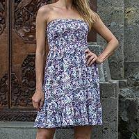 Rayon sundress, 'Pretty in Paisley' - Strapless Rayon Dress with Paisley Print from Indonesia