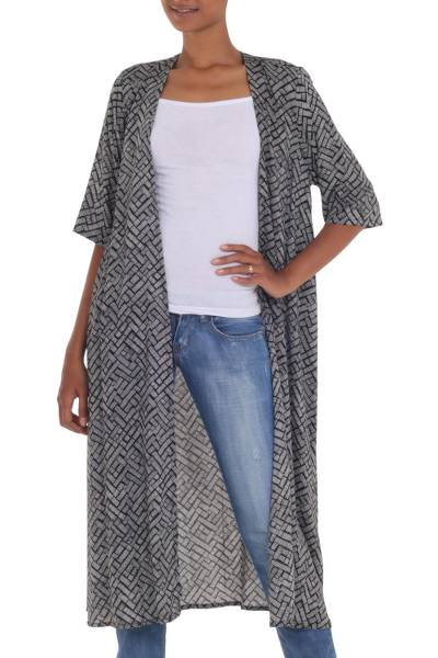 Three-quarter sleeve rayon kimono jacket, 'Weekend Getaway' - Long Black and White Open Kimono Jacket