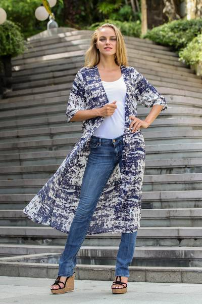 Elbow-length sleeved rayon jacket, 'Caribbean Paradise' - Handmade Blue and White Rayon Jacket from Indonesia