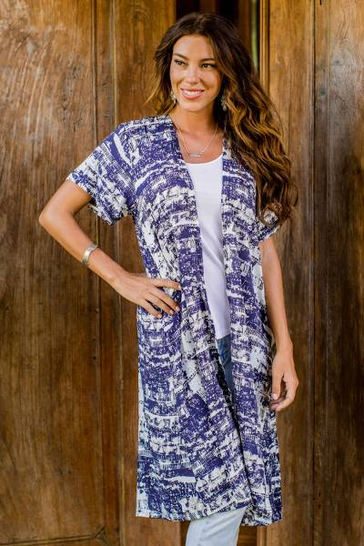 Rayon short-sleeved kimono jacket, 'Caribbean Paradise' - Long Blue and White Rayon Jacket from Indonesia