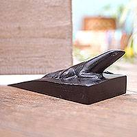 Wood door stopper, 'Handy Gecko in Black' - Hand Carved Suar Wood Lizard Door Stopper in Black from Bali