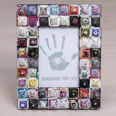 Recycled paper photo frame, 'Square Shrines' (4x6) - 4x6 Recycled Paper Photo Frame with Multicolored Squares