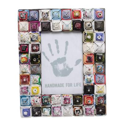 4x6 Recycled Paper Photo Frame with Multicolored Squares