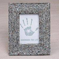 Recycled paper photo frame, 'Straw Memories' (4x6) - 4x6 Recycled Paper Multicolored Photo Frame from Bali