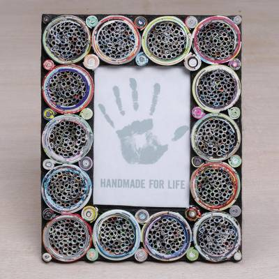 Recycled paper photo frame, 'Memory Circles' (4x6) - 4x6 Recycled Paper Circle Motif Photo Frame from Bali