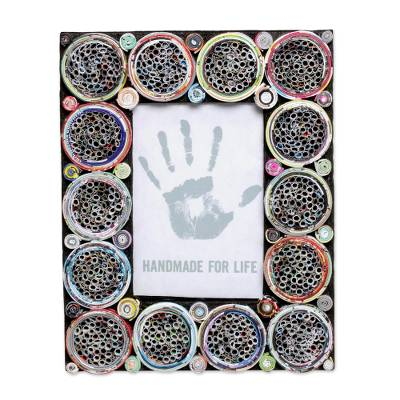 4x6 Recycled Paper Circle Motif Photo Frame from Bali