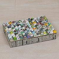 Recycled paper jewelry box, 'Temple City' - Handcrafted Recycled Paper Jewelry Box from Bali