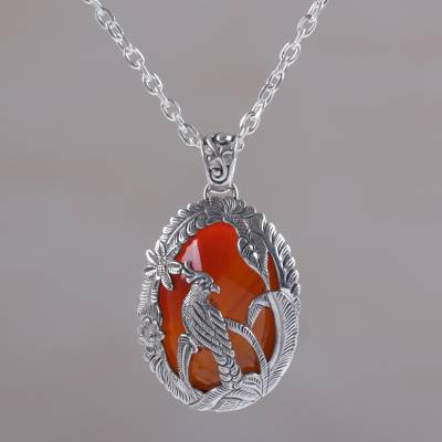 Carnelian pendant necklace, 'Cockatoo Garden' - Carnelian and Sterling Silver Cockatoo Necklace from Bali