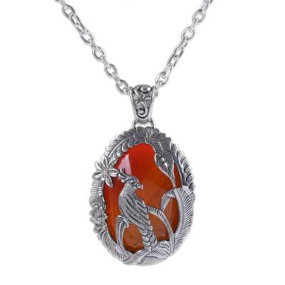 Carnelian and Sterling Silver Cockatoo Necklace from Bali