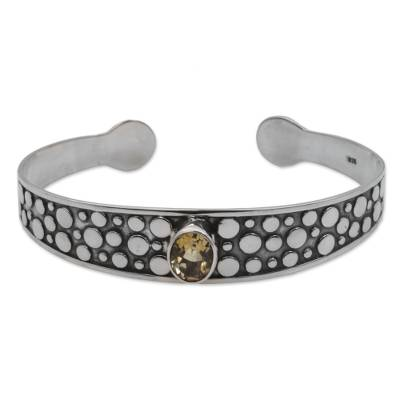 Citrine and Sterling Silver Dotted Cuff Bracelet from Bali
