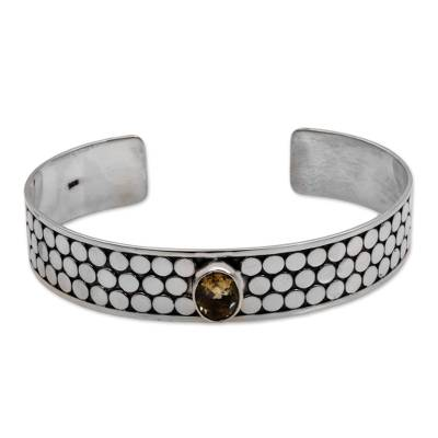 Citrine and Sterling Silver Circle Motif Cuff Bracelet