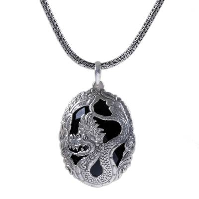 Onyx and Sterling Silver Dragon Pendant Necklace from Bali