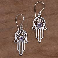 Amethyst dangle earrings, 'Hamsa Swirls' - Amethyst and Sterling Silver Hamsa Hand Dangle Earrings
