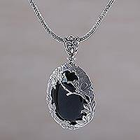 Onyx pendant necklace, 'Dusk Butterfly' - Onyx and Sterling Silver Butterfly Necklace from India