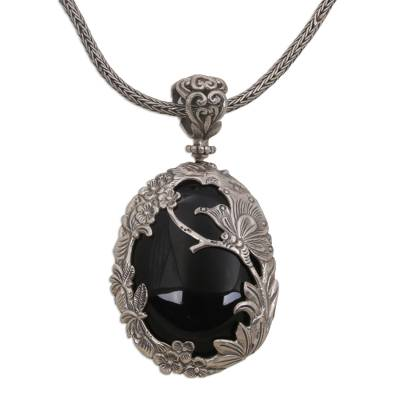 Onyx and Sterling Silver Butterfly Necklace from India