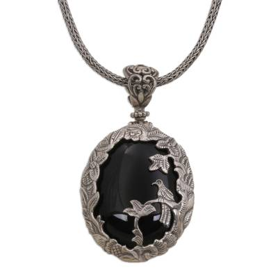 Onyx and Sterling Silver Bird Pendant Necklace from India