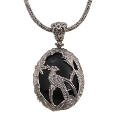 Onyx and Sterling Silver Cockatoo Necklace from Bali