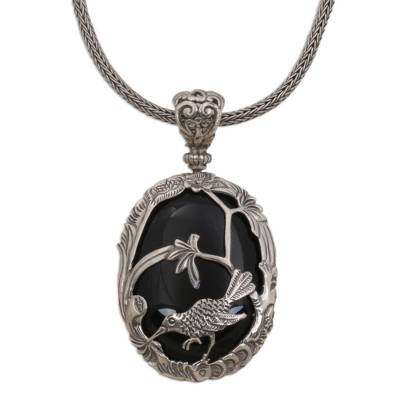 Bird Themed Onyx and Sterling Silver Necklace from India