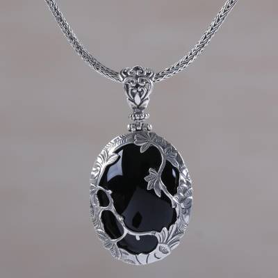 Onyx pendant necklace, 'Adventure in the Woods' - Nature Themed Onyx and Sterling Silver Necklace from Bali