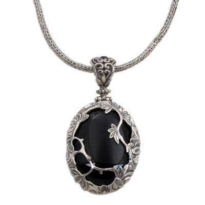 Nature Themed Onyx and Sterling Silver Necklace from Bali