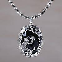 Onyx pendant necklace, 'Monkey Oasis' - Onyx and Sterling Silver Monkey Pendant Necklace from Bali