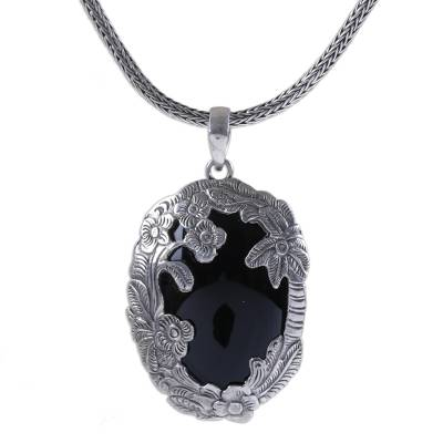 Onyx Flower and Tree Pendant Necklace by Bali Artisans