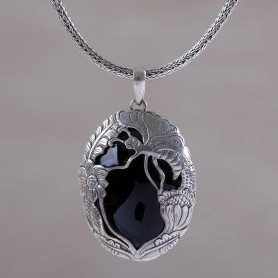Onyx pendant necklace, 'Nighttime Butterfly' - Onyx and Sterling Silver Butterfly Balinese Pendant Necklace
