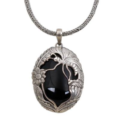 Onyx and Sterling Silver Butterfly Balinese Pendant Necklace