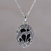 Onyx pendant necklace, 'Midnight Lilies' - Onyx and Sterling Silver Floral Pendant Necklace from Bali