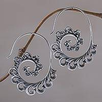 Sterling silver half-hoop earrings, 'Paisley Ferns' - 925 Sterling Silver Paisley Half-Hoop Earrings from Bali