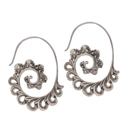 925 Sterling Silver Paisley Half-Hoop Earrings from Bali