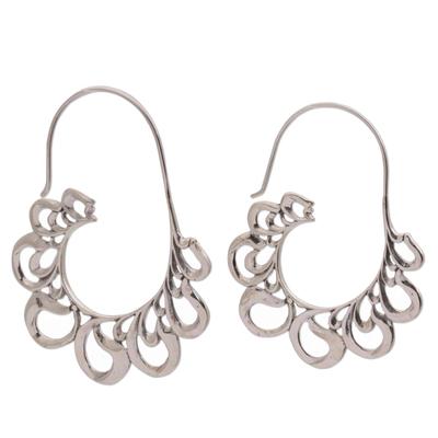 Sterling Silver Paisley Motif Half-Hoop Earrings from Bali