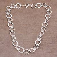 Sterling silver chain necklace, 'Stellar Rings' - 925 Sterling Silver Modern Chain Necklace from Bali