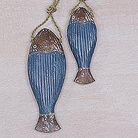 Wood home accents, 'Tuna Prize in Blue' (pair) - Albesia Wood Fish Home Accent in Blue from Bali