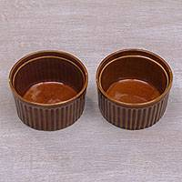 Ceramic ramekin bowls, 'Brown Honey' (pair) - Pair of Handcrafted Ceramic Ramekin Bowls in Brown from Bali
