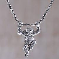 Sterling silver pendant necklace, 'Monkey Charm' - Sterling Silver Monkey Pendant Necklace from Indonesia