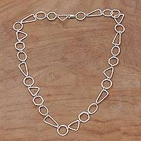 Sterling silver link necklace, 'Modern Simplicity' - Handmade Sterling Silver Link Necklace from Indonesia