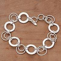 Sterling silver link bracelet, 'Circle of Hope' - Handmade Sterling Silver Link Bracelet from Indonesia