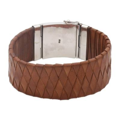 Balinese Brown Leather Wristband Bracelet with Silver 925