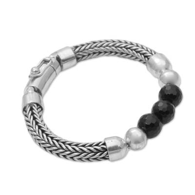 Onyx and Sterling Silver Beaded Chain Bracelet from Bali