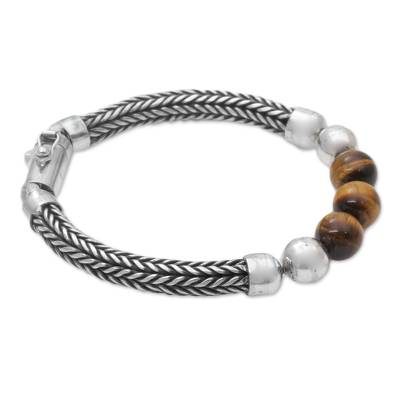 Tiger's eye beaded chain bracelet, 'Bold Elegance' - Tiger's Eye and Sterling Silver Beaded Chain Bracelet