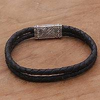 Men's sterling silver and leather wristband bracelet, 'Daring Braid' - Black Leather Men's Wristband Bracelet by Balinese Artisans