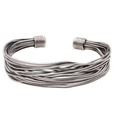 Sterling Silver Wrapped Wire Bracelet Handcrafted in Bali