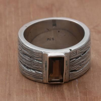 silver tree jewellery discount code - Smoky Quartz and Sterling Silver Band Ring from India