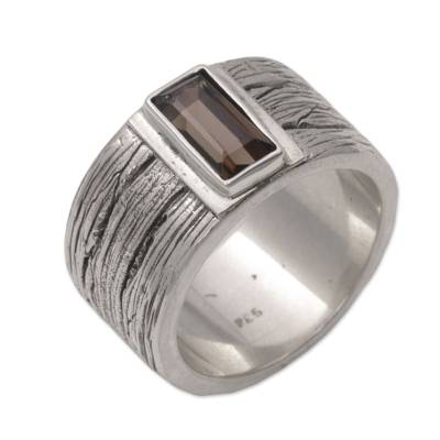 Smoky Quartz and Sterling Silver Band Ring from India