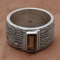 Smoky quartz cocktail ring, 'Dusky Thicket' - Smoky Quartz and Silver Textured Cocktail Ring from India
