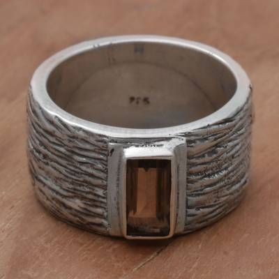 Smoky Quartz and Silver Textured Cocktail Ring from India