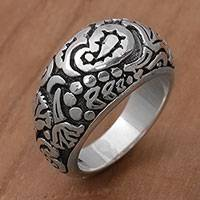 Featured review for Sterling silver domed ring, Paisley Plains